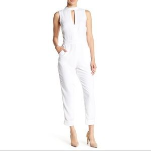 Bebe Bright White Keyhole Sleeveless Jumpsuit